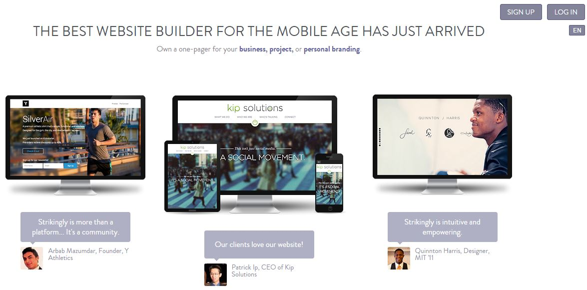 Zillionize Invests in Strikingly - A one-page mobiles friendly website builder platform